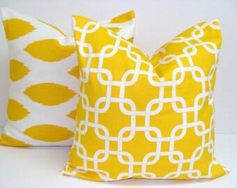 Yellow Pillow Set.TWO PIECE SET.18x18 inch.Pillow Cover Set.Yellow Pillow Cover Set.Ikat and Geometric.Yellow Pillows.Housewares.Home Decor