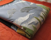 Manatee Sea Cow upcycled thick blanket or throw handsewn