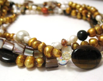 Multiple strand tiger eye, freshwater pearl statement necklace