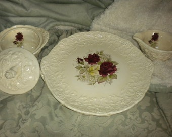 Beautiful Set of 4 Large Rose plates,Cottage Decor,French Country,Shabby chic
