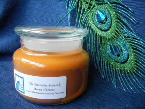 acorn harvest scented soy candle 12 oz apothecary jar burnt orange