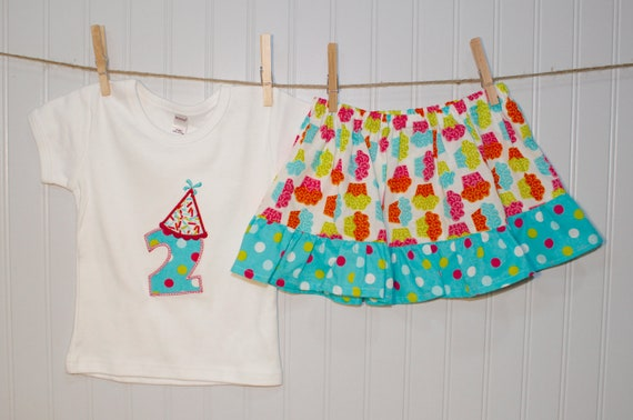 TODDLER GIRL BIRTHDAY outfit- ruffle skirt set with matching birthday hat applique top- sizes 6-12mo, 12mo, 18mo, 2, 3, 4, 5