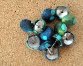 fabric pushpins / set of twelve / blues, greens, turquoise batik