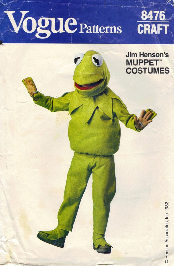 Vogue Sewing Pattern 1980s Kermit The Frog Muppet Costume Child's Halloween Outfit Mask Size S M L