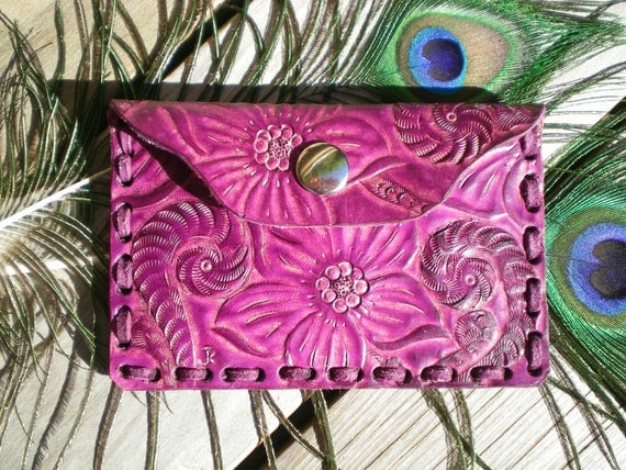handmade credit card case/ tooled leather wallet / coin purse