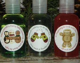 Hand Sanitizer, Shower Gel, Lotion Stocking Stuffers - Cozy Sentiments (Set of 3)