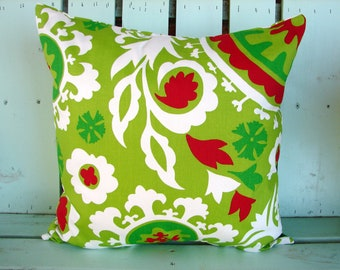 """Sale 18"""" X 18"""" red,white,chartreuse,green Suzani print Christmas- Holiday- decorative pillow cover-gifts under 30-throw pillow-accent pillow"""
