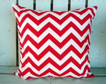 "Sale 18"" X 18"" red and white chevron print-Decorative pillow cover-gifts under 30-throw pillow-accent pillow"