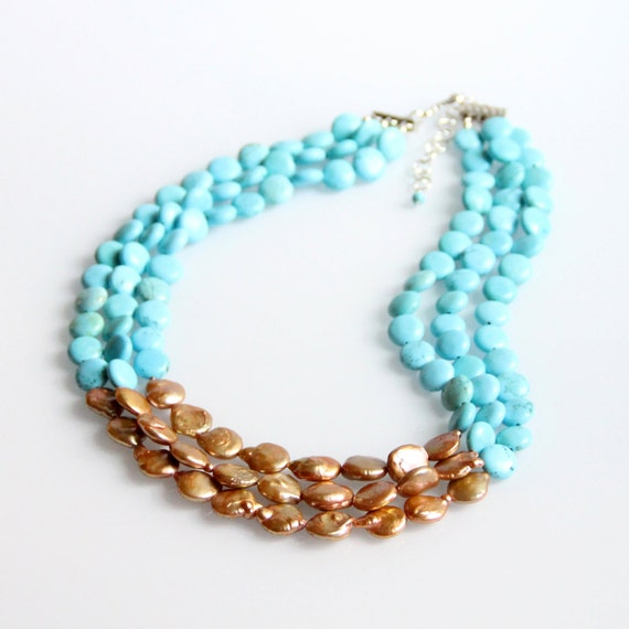Turquoise Necklace Gold Coin Pearls - Triple Strand, Ocean Blue
