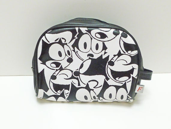 Felix the Cat Zippered Vinyl Pouch Graphic Black and White