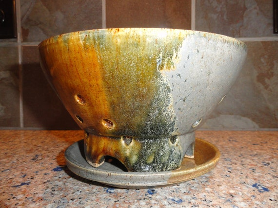 Berry Bowl...Strainer...Colander with separate bowl...Variegated Blues and Nutmeg Brown