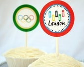 London Olympic Games-- cupcake topper. London Olympics Party. party circles