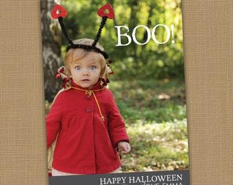 Halloween Photo Card. Boo. Happy Halloween