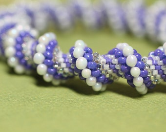 Purple and White beaded spiral bracelet