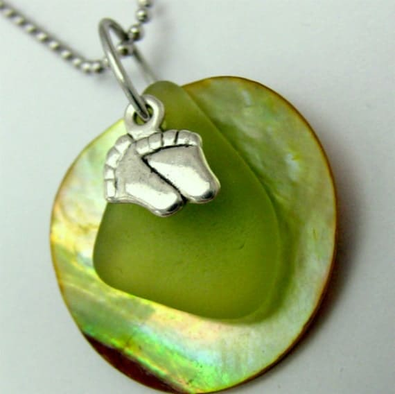 New Mother Necklace, Genuine Sea Glass, Baby Feet Charm, Lime Green, Mermaids Tears, Shell Pendant, Tiny, Stainless Steel