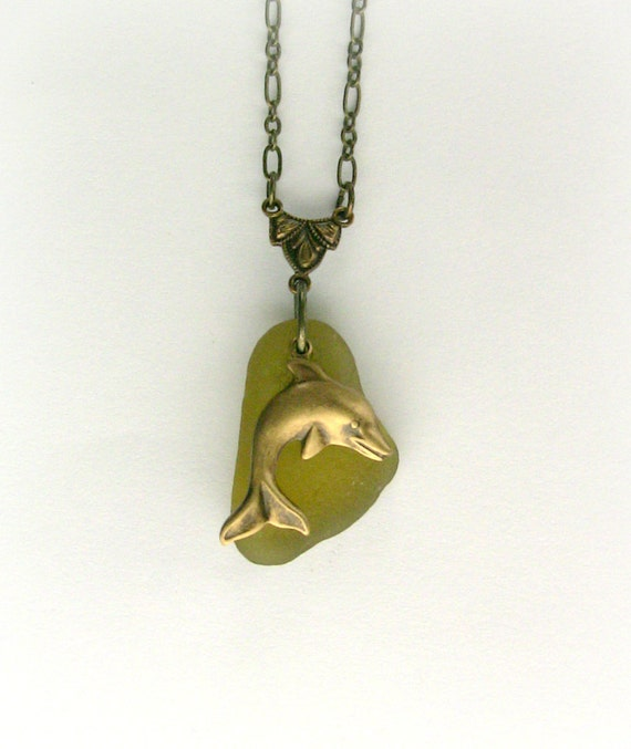 Dolphin Jewelry Rare Citron Seaglass Pendant French Surfer Jewelry