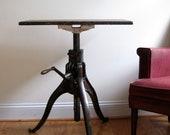 Antique Crank Table in Cast Bronze