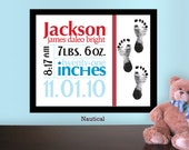 Printable Custom Baby Stats Print with Footprints, Nursery Wall Art Birth Announcement: Nautical