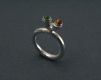 Tiger eye and jade sterling silver ring - stacking
