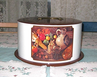 Metal Brown & Cream Color  Ballonoff Cake Keeper with a Harvest Motif - Made in The  USA