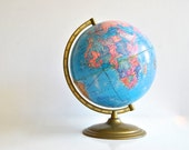 Crams World Globe - Blue and Pink with Gold Base