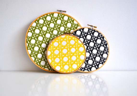 Mod Vintage Fabric Hoop Collection - Home Decor - Green, Black, Yellow