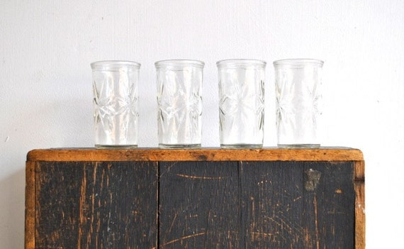 RESERVED -Ball Jelly Jars Juice Glasses- Set of Four