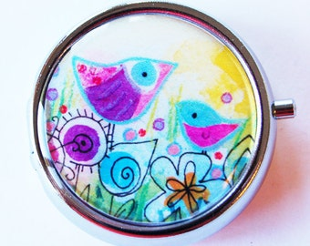 Pill Box, Bird pill case, Pill Case, Pill Container, Gift for her, pill case for purse, bright colors, gift for her, gift for mom (1805)
