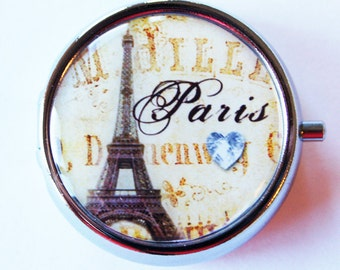 Paris Pill Box, case, Eiffel Tower, Pill Case, Pill Container, Gift for her, Mint case, Candy container, Paris (1807)
