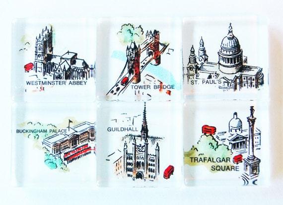 London, Glass Magnets, Fridge Magnets, Travel Magnet, England, London landmarks