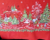 Vintage Christmas Border Print Cotton Fabric