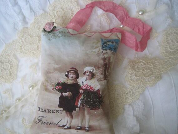 French pink Paris girls GIFT sachet Swarovski crystals vintage antique postcard style
