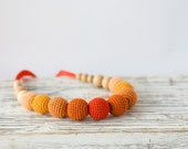 Toskana Crocheted Necklace - ombre orange - nursing / teething necklace for mom to wear, babywearing