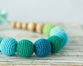 Martinique Crocheted Necklace - natural jewelry, mommy necklace - blue, emerald, turquoise, teal, lime green - Free Worldwide Shipping - FrejaToys