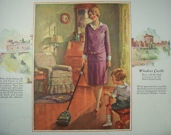 1927 JOHNSON'S POLISHING WAX / Nashua Blankets / Vintage Advertising