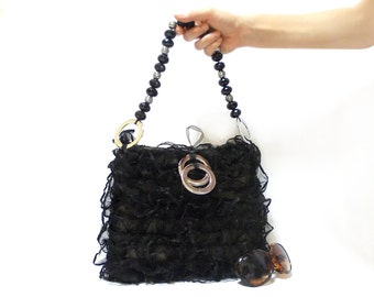 Lace purse, Black Bag, Handbag, Stylish Bag, Handmade PurseLace Pouch, Tulle Lace Purse, Cotton Lace purse- Tulle handbag, Unique handbag