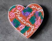OOAK Precious Love Folk Wooden Heart Fridge Magnet