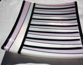 Linear Square Fused Glass Platter, Pink, White, and Black