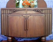 reserved may 4 2013-ART DECO BUFFET Vintage Vanity  Solid Wood With Mirror Hand Stained Painted and Glazed