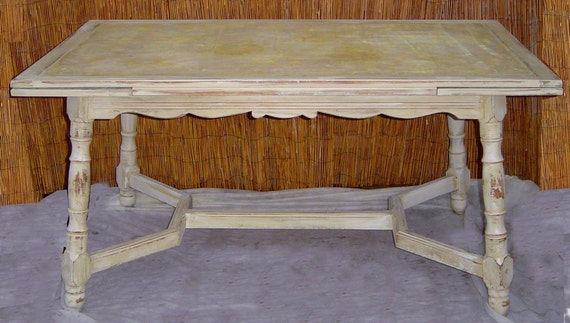 Reserved for Customer--VINTAGE DINING TABLE - French County Farm Painted Cream White Distressed Shabby Cottage Rustic
