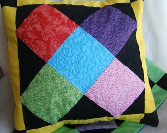 X Marks The Block Quilted Pillow Cover - OOAK - Handmade by Me