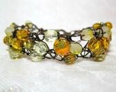 Bronze and Yellow Wire Crochet Bracelet, handmade beaded jewelry, beadwork bracelet in yellow