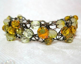 Bronze and Yellow Wire Crochet Bracelet, handmade beaded jewelry, beadwork bracelet in yellow