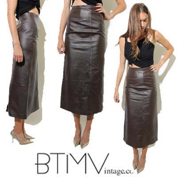 items similar to 90s leather skirt chocolate brown