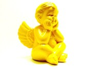 cherub ceramic  figurine  //  bright yellow angel, angels, upcycled home decor, romantic, home accents, yellow decor
