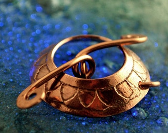 Japanese pattern copper toggle clasp - Handmade
