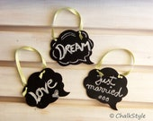 Set of 3 Chalkboard Cloud Speech Bubble Wedding Decorations, Small Photo Props, Tags, Table Numbers - Reusable Rewritable, Wedding Decor