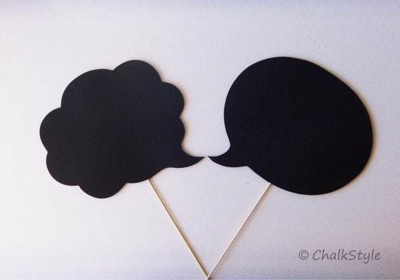 2 Large CHALKBOARD Speech Bubbles on a Stick  -- TWO SIDED Oval and Cloud Shaped Chalkboards, Photo Booth Props for Wedding