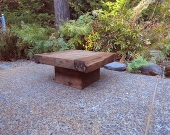 """Custom Old Growth Coffee Table - 4 inch thick top 28"""" x 28""""x 20"""""""