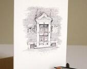 Architectural Greetings Card: Lucca, pencil drawing of Santa Maria dei Servi